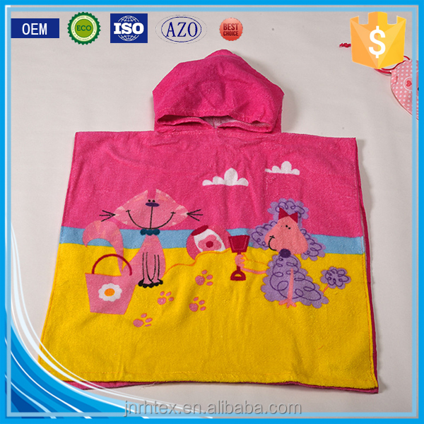 Alibaba Trade Assurance ring spun cotton screen printing velour kids poncho hooded beach towel