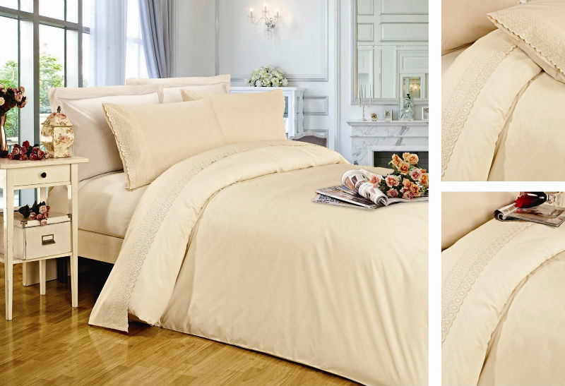 Kosmos home textile 100% cotton embroidery fitted sheet / Flat sheet / lace bed sheet set