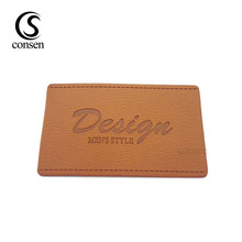 Custom hot sale jeans brand logo embossed leather patches labels for clothing/bags