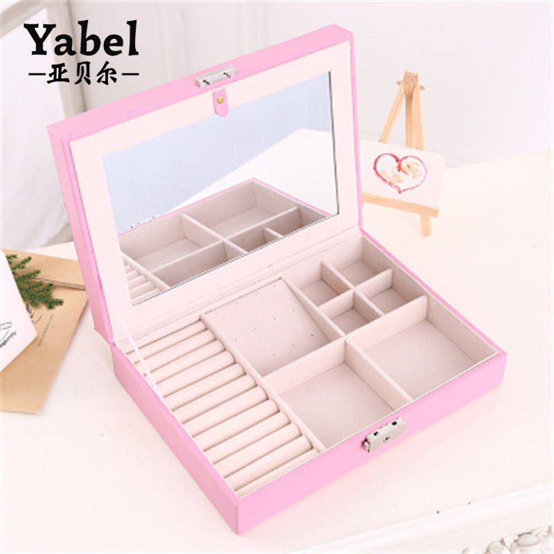 Makeup Case Environmental PU Leather Jewelry Box With Mirror Lock
