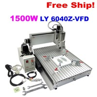 New Arrival Water-Cooled 1500w Spindle 6040 3 Axis CNC Router for aluminum copper acrylic wood cutting machine, Free shipping.
