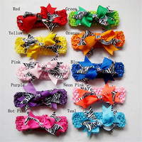 Fashion Baby Girl Printed Zebra Hair bow crochet headbands