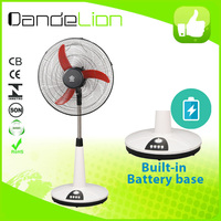 16'' DC rechargeable fan stand fan/rechargeable mini fan/solar roof ventilator with brushless