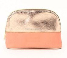 Plain Rose Gold PU Cosmetic Bag