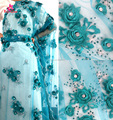 2017 New Custom Design Teal Wedding Dress Lace Fabric/3d Flower Lace Fabric For Bridal