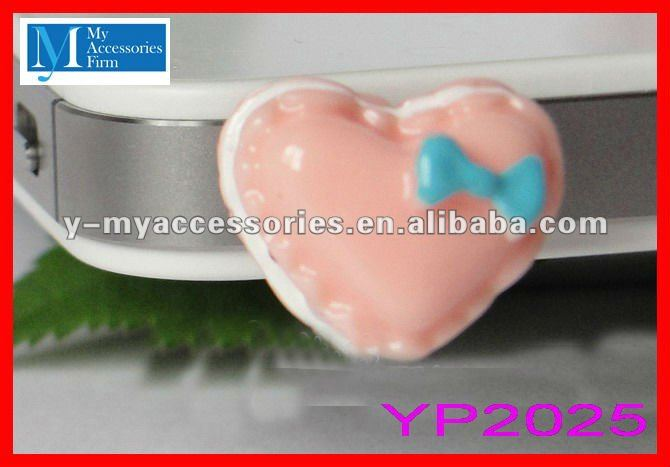 heart anti dust ear cap for iphone