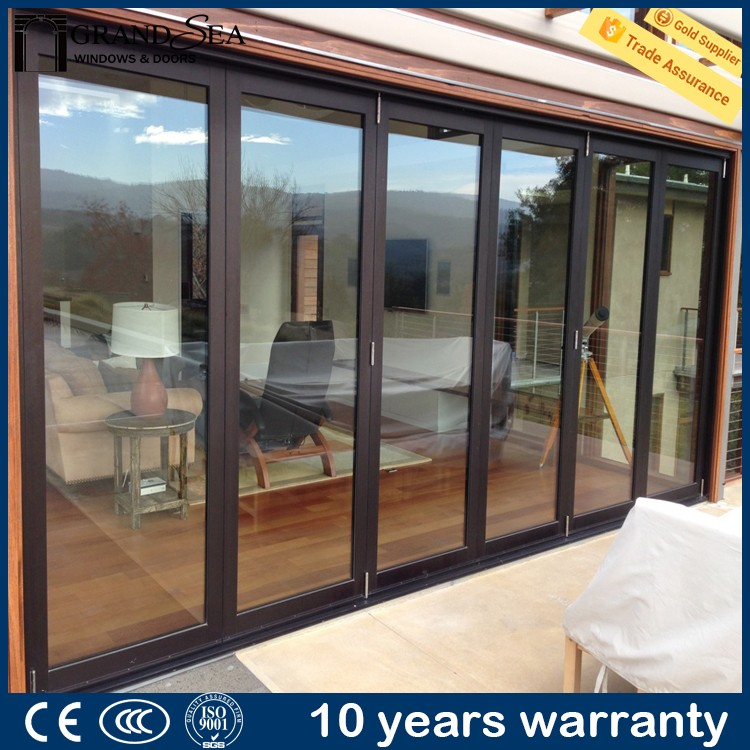 Guangzhou factory partition french style thermal break three tracks aluminum sliding door with IS9001 certification
