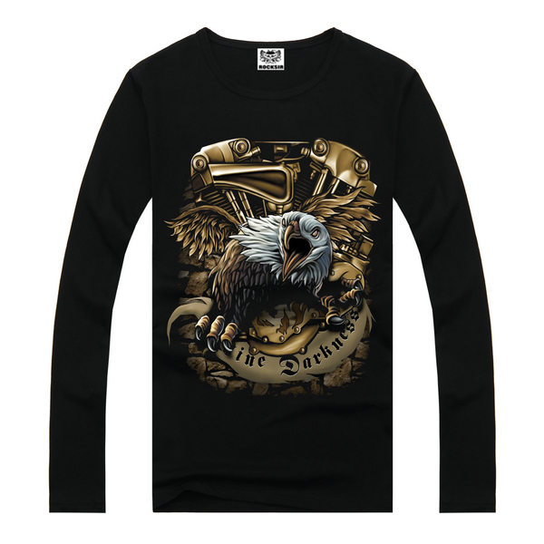 Rock eagle t shirts,men long sleeve t-shirts