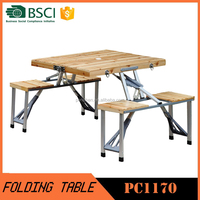 Outdoor wooden camping portable folding table and chairs set