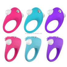 Adult Fun Tools Mini Sex Toy Penis Ring Vibrating Rabbit Cock Ring Blue Pink Color adulto Silicone+ABS for Women Men Sex 2016