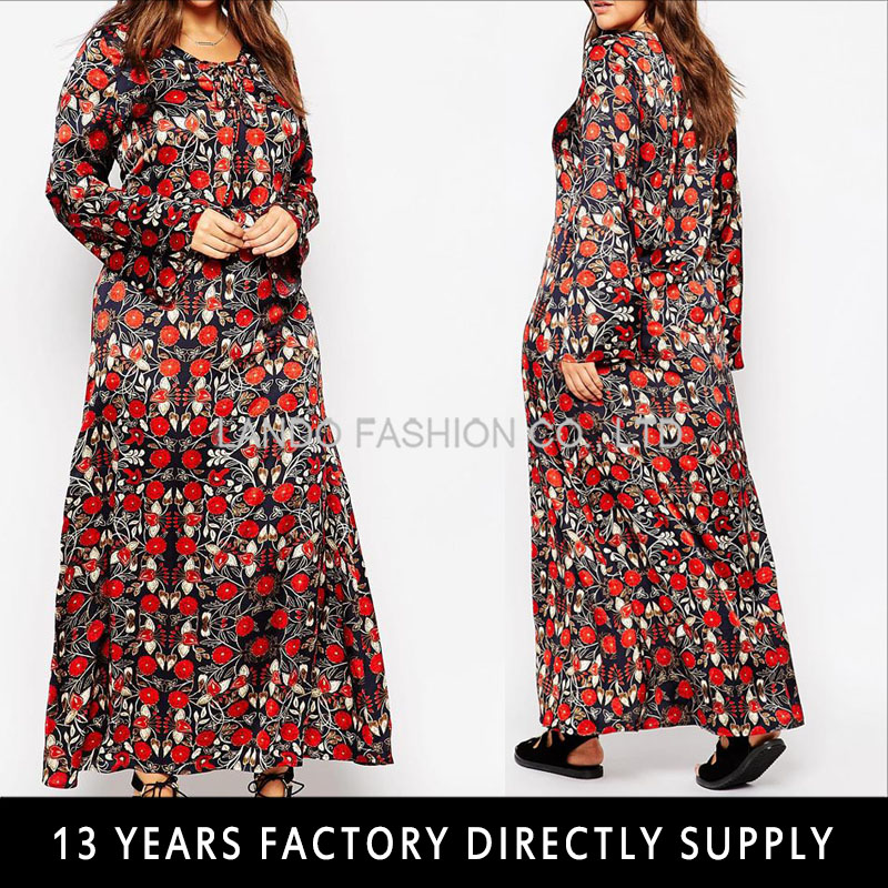 Plus size long sleeve flower print maxi thai traditional dresses