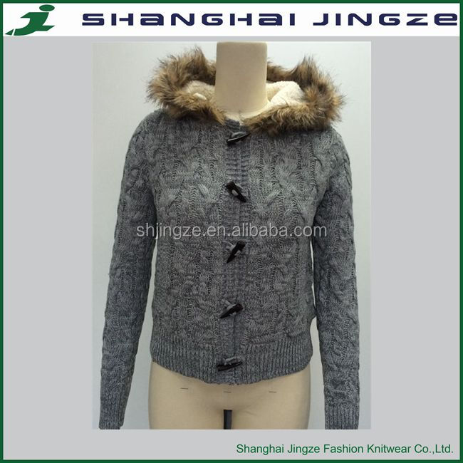 Women Fashion Sweaters hooded cardigan knitting pattern for woman