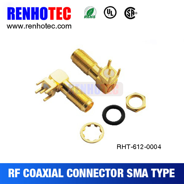 right angle jack sma receptacle for pcb, ROHS COMPLIANT sma connector, electrical accessories