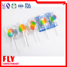 mini flat rainbow sour lollipop with chain packing style