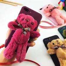 High Quality Cute Plush Bear Soft TPU Mobile Phone Case for iPhone