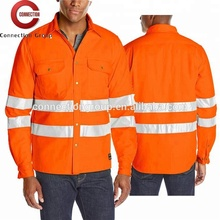 HVT026 50% Polyester 50% Cotton Long Sleeves Wholesale Safety Shirts Reflective
