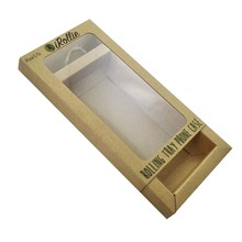 Kraft paper box with clear pvc window cell phone case retail packaging