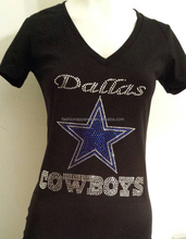 Dalla Cowboys Rhinestone Bling Shine V-Neck Fitted Tee T Shirt