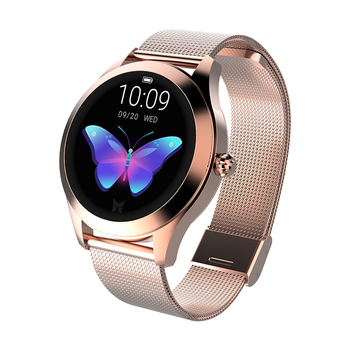 KW10 Custom Smart Watches Stainless Steel Rose Gold Wrist Watch for Female