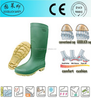 Marine Fishery Green CE Colorful Safety Rain Boots Without Steel Toe Cap