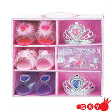 Good sell plastic shoes with tiara little girls plastic shoes