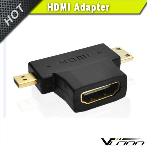 (2 in 1) Gold-Plated Mini-HDMI + Micro-HDMI to HDMI Adapter