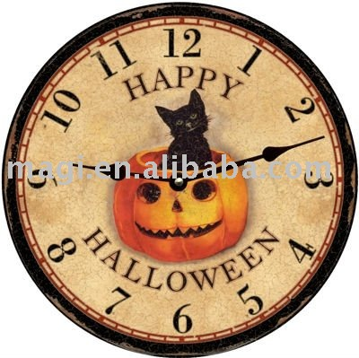 Happy Halloween Black Cat Wooden Clocks