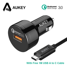 AUKEY CC-T12 Car Charger Quick Charge 3.0 24W USB Car-Charger Mini Fast Car Phone Charger for Xiaomi Mi6 Galaxy S8 S8 plus NOTE8