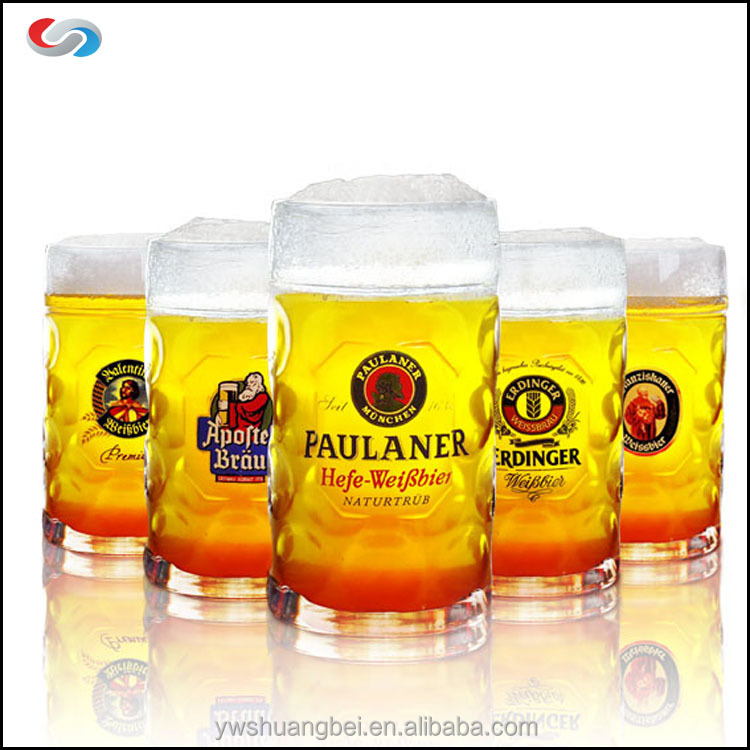 Customized 1Litre Beer Mug Glass With Logo For Promotional gifts