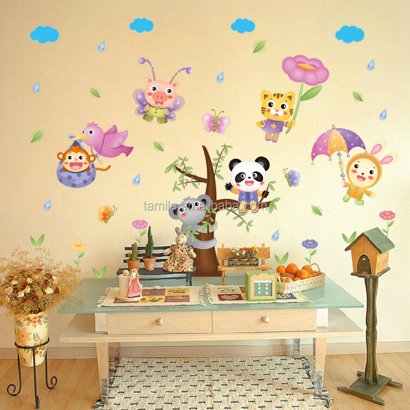 monkey animal Tree Vinyl Wall Stickers kids Decor Home Wall Paper Decal deco Art Cartoon Sticker