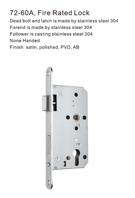 72-60A Fire Rated Lock European Profile Mortise Locks Set