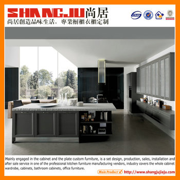Guangzhou pictures modular kitchen grey solid wood kitchen cabinet