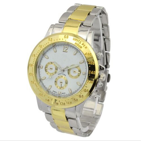 Koda Gorgeous 22K Gold Watch Bezel Omax Chrono Japan Movt Quartz Qatch Stainless Steel Back