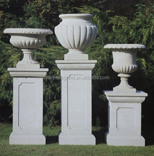 Natural stone carved tall novelty outdoor garden vase flower pot