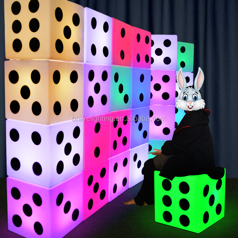 plastic led cube chair LED chair light Wonderful Chair LED cube light magic change color small seat, light cube seat dice style