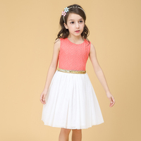2016 Latest Kids Princess Wedding Flower Girl Dresses with Gold Belt