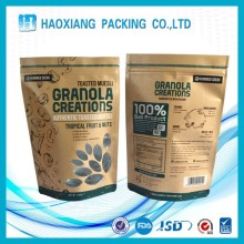 Gravure Printing Kraft Paper Stand Up Pouches to packaging Salt/ red Date/Wheat Flour With Zippper and Window