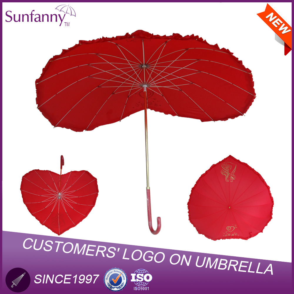 Sunfanny heart shaped umbrella fiberglass wedding parasol umbrella