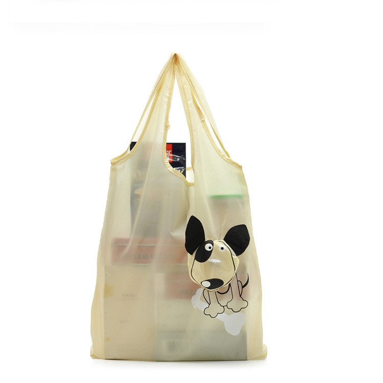 Newest recycle polyester foldable cute dog design shopping bag