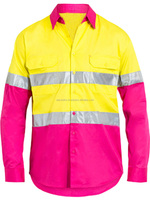 Wholesale Yellow and Pink Ladies Reflective Work Shirt In Cotton Fabric