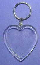 blank clear acrylic heart shaped plastic keyrings