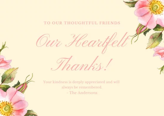 JOYBEAN Custom Thank You Cards Funeral With Custom Logo
