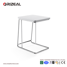 wholesale factory manufacturing white square modern design glossy metal frame wood side end table with price list