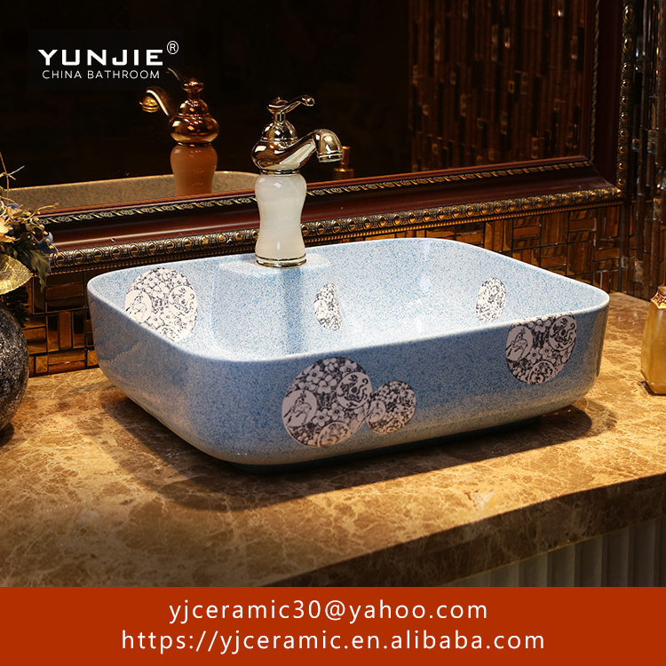 light blue natural stone wash basin price animals ink painted ceramic art basin