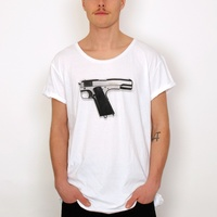 Round neck white Gun t shirt manufacturing companies