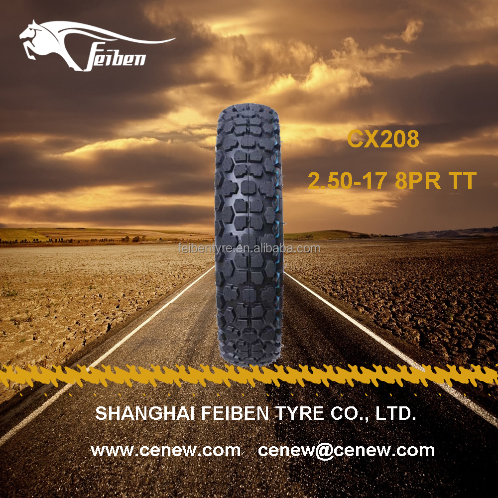 FEIBEN BRAND NICE QUALITY CX208 2.50-17 OFF ROAD MOTORCYCLE TYRE