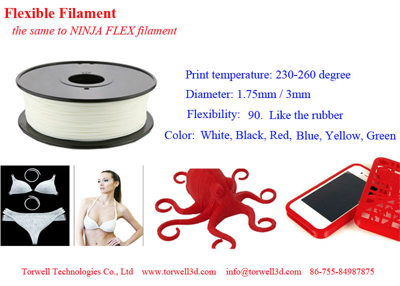 Rapid Prototyping Flex Filament 1.75/3.00mm for FDM, Ultimaker and MakerBot 3D printer.
