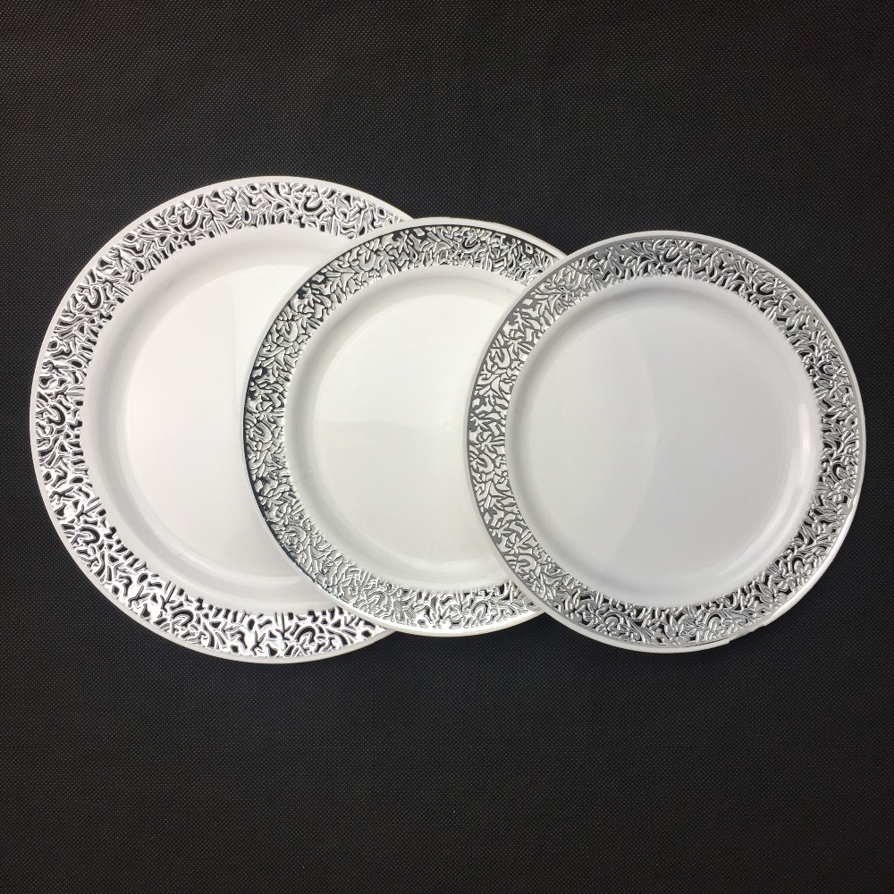 Cheap Disposable Round Food Dishes With Silver Hollowed-out Lace