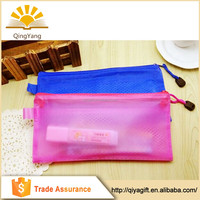 Customized mesh inner pvc pencil case with compartments