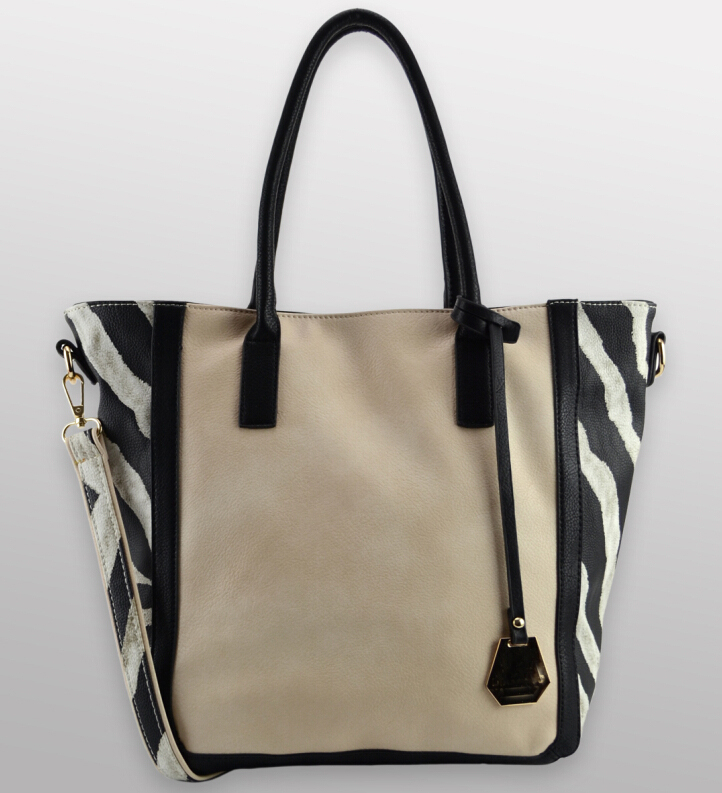 SAHARA #626 zebra printed synthetic leather handbag calf leather look fabric tote bag shoulder bags for ladies